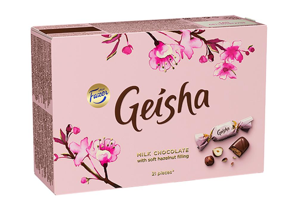 Конфеты Geisha из молочного шоколада с начинкой из тертого ореха 150г Fazer