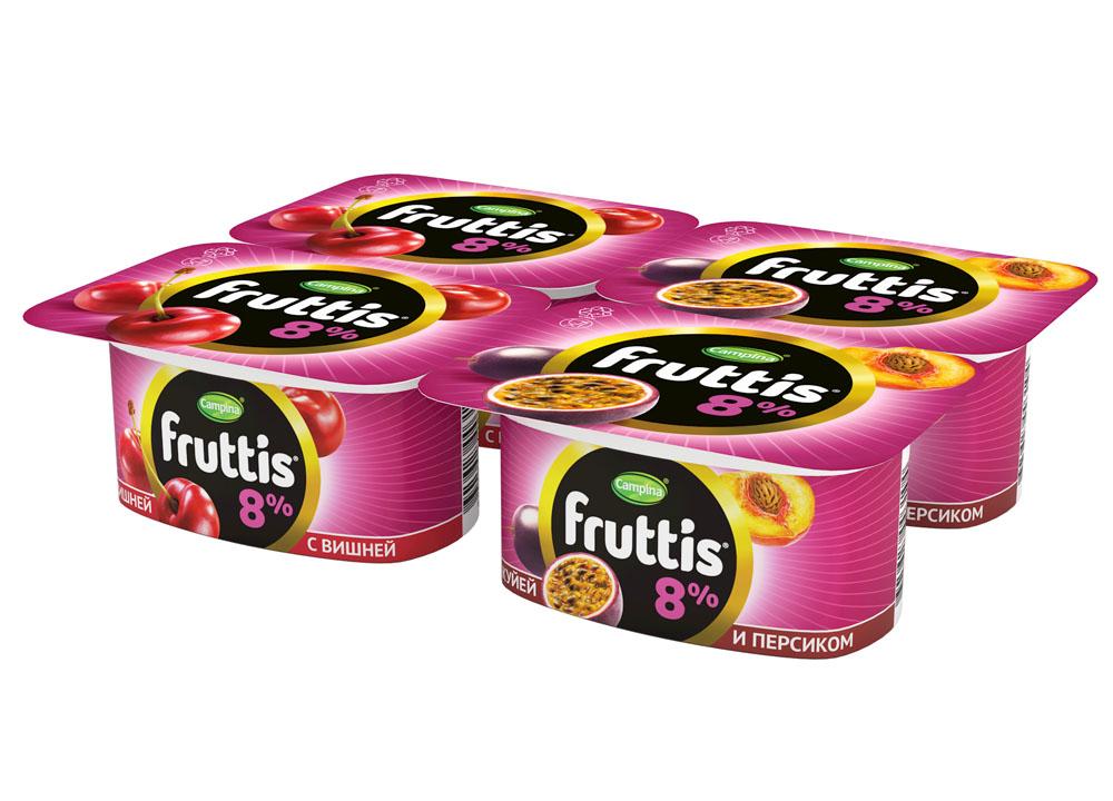 БЗМЖ Продукт й-ый паст Fruttis СЭ виш/пер/мар8%115г пл/в