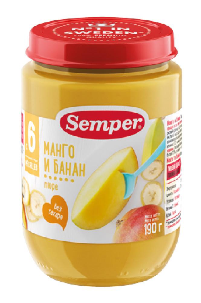 Пюре Semper манго/банан с 6мес 190г ст/б