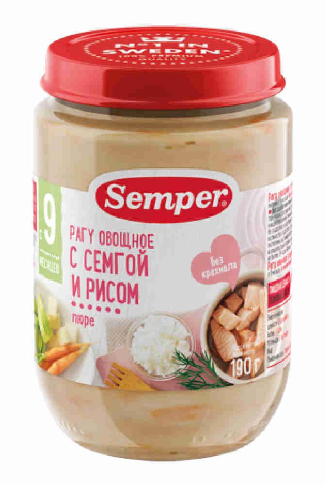 Пюре Semper овощи/семга/рис с 9мес 190г ст/б