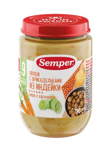Пюре Semper овощи/фрикадельки из индейки с 9мес 190г ст/б
