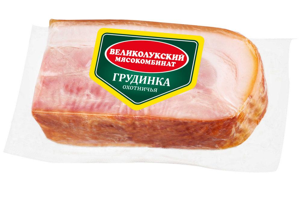 Мясные деликатесы  Окей Доставка Грудинка Великолукский МК Охотничья в/к 300г