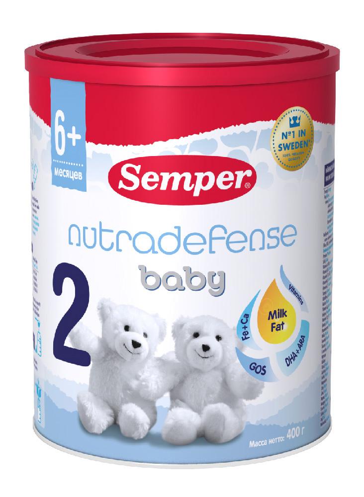 БЗМЖ Смесь молочная Semper nutradefense 2 с 6 мес 400г ж/б