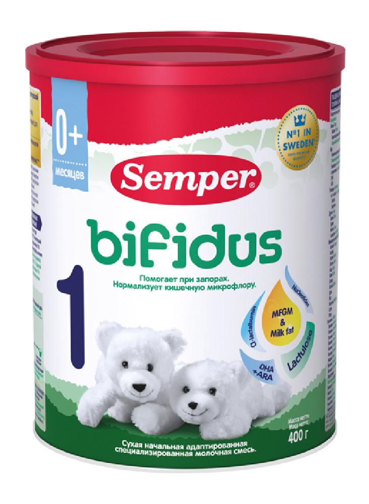 БЗМЖ Смесь молочная Semper Bifidus 1 с пребиотиками с рождения 400г ж/б