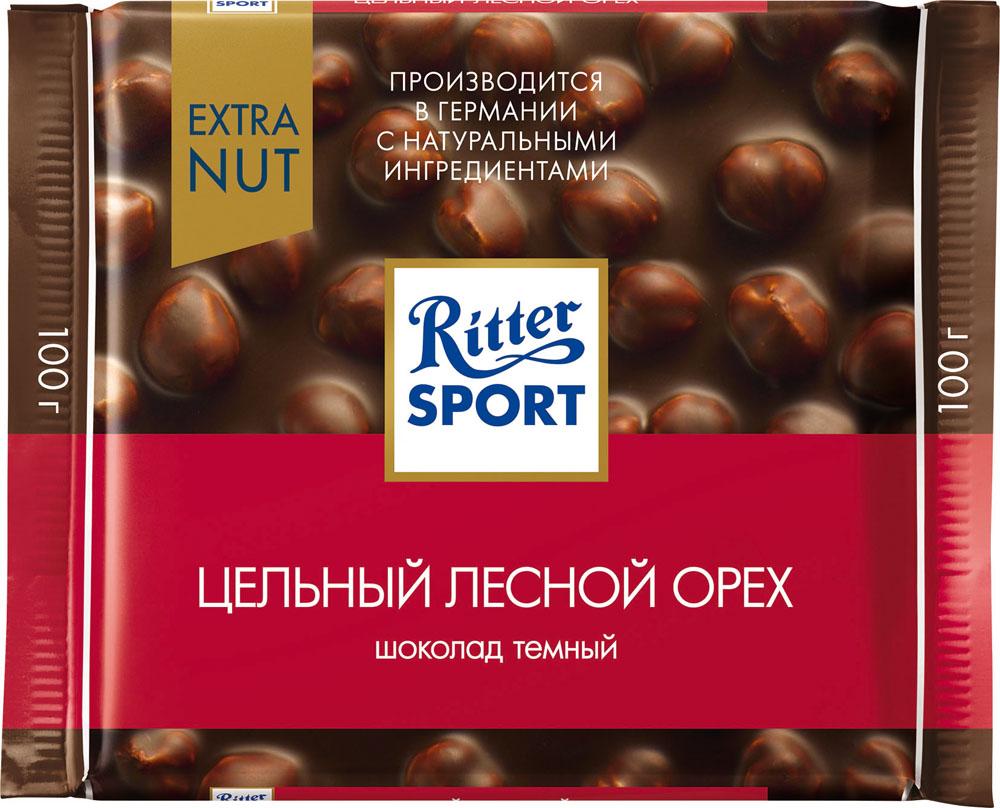 Шоколад темный Ritter Sport Extra Nut с цельным обжаренным орехом лещины 100г
