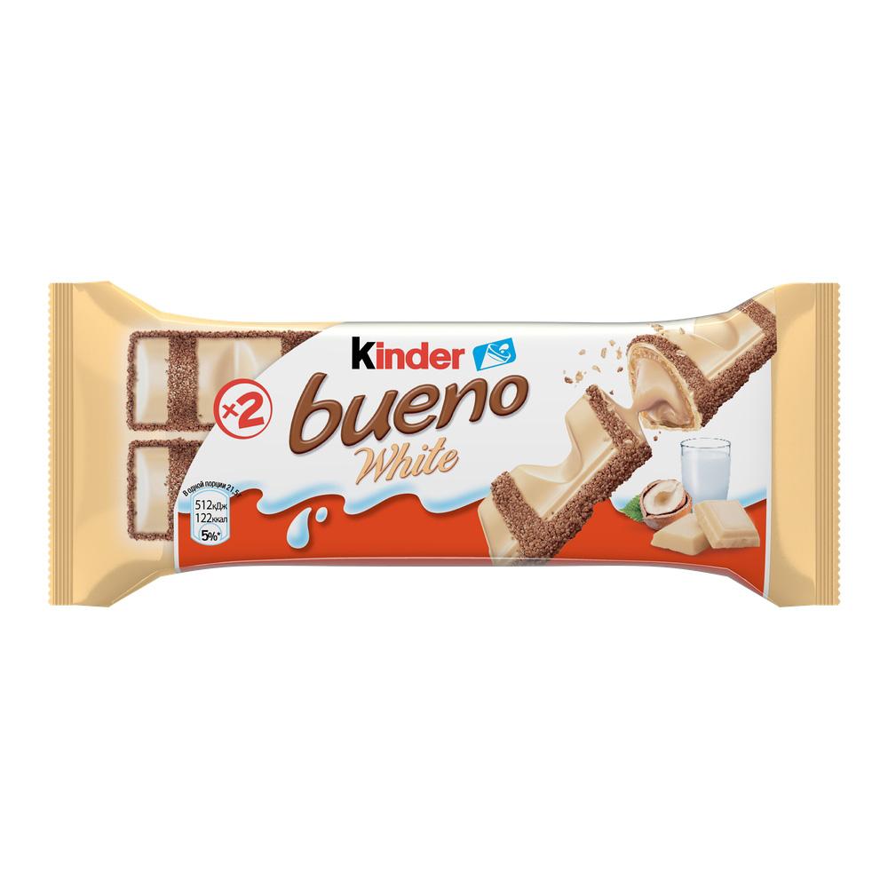 Шоколадные батончики, паста, яйца, драже  Окей Доставка Вафли Kinder Bueno в белом шоколаде 39г