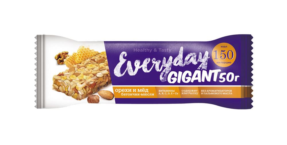 Батончик-мюсли EVERYDAY GIGANT орехи/мёд NEW