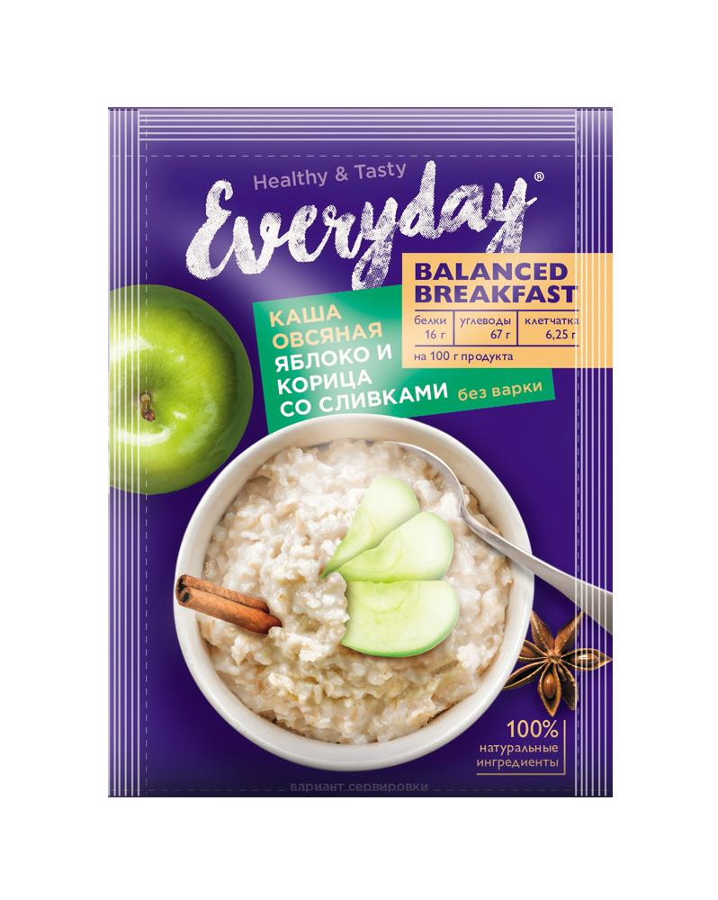БЗМЖ Каша овсяная Everyday Balanced Breakfast яблоко/корица со сливками 40г