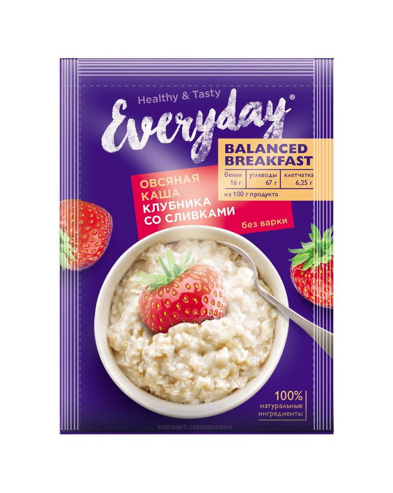 БЗМЖ Каша овсяная Everyday Balanced Breakfast клубника со сливками 40г