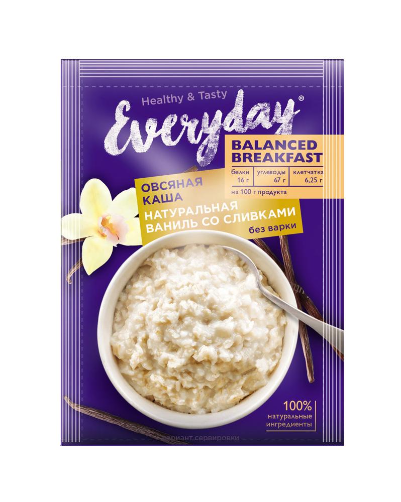 БЗМЖ Каша овсяная Everyday Balanced Breakfast натуральная ваниль со сливками 40г