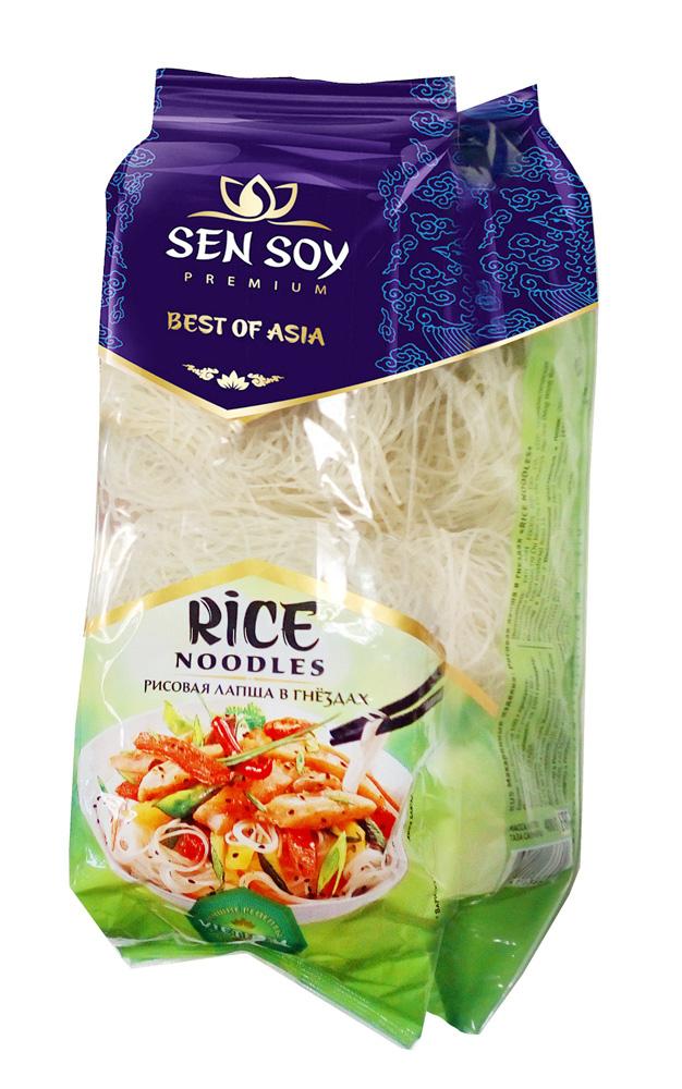Рисовая лапша в гнездах Sen Soy Rice Noodles 400г