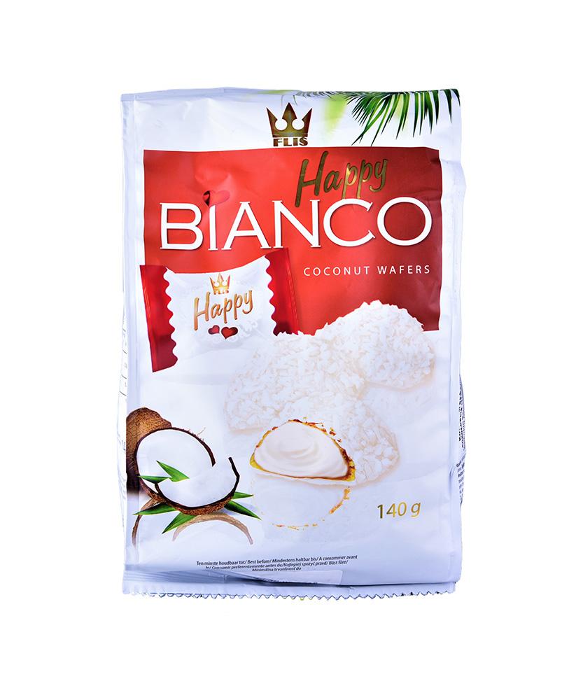 Конфеты Happy BIANCO Red вафельные глазированные кокосовые 140г м/у