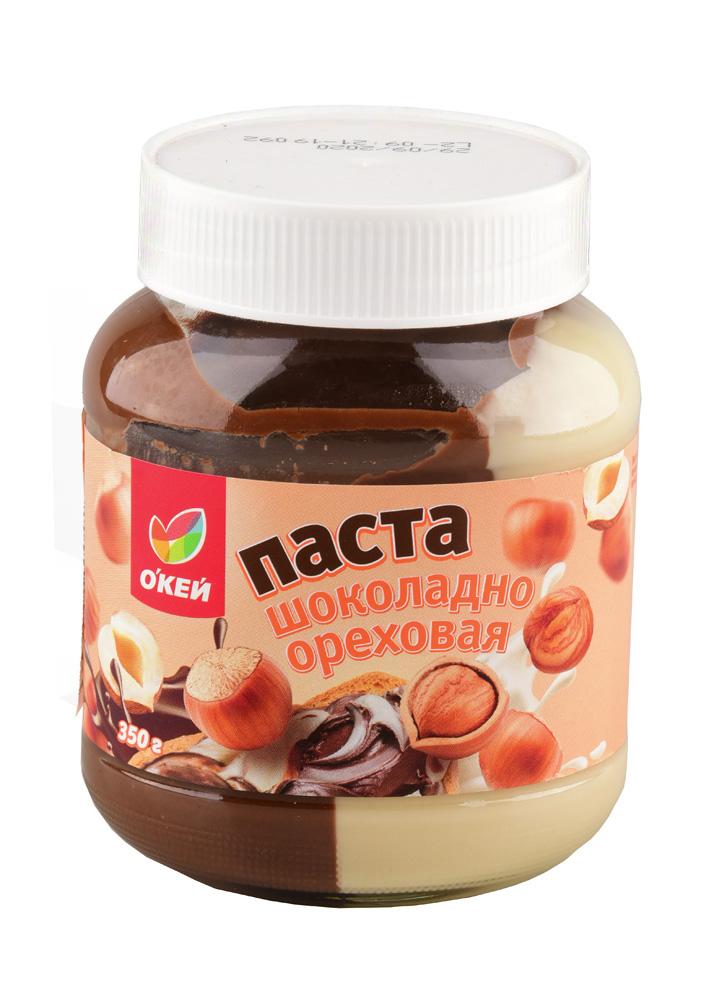 Шоколадные батончики, паста, яйца, драже Паста ОКЕЙ шоколадно-ореховая дуо 7% 350г