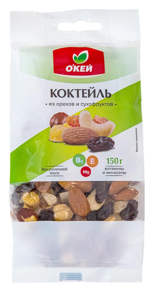 Орехи, сухофрукты  Окей Доставка Коктейль из орехов и сухофруктов ОКЕЙ 150г