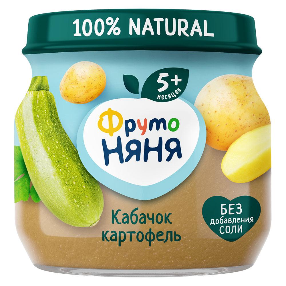 Пюре ФрутоНяня из кабачков и картофеля для питания детей раннего возраста 80г фото