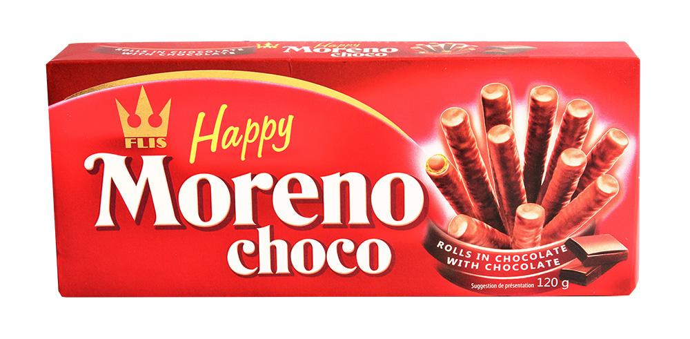 Трубочки вафельные Flis Happy Moreno choco шоколадные 120г