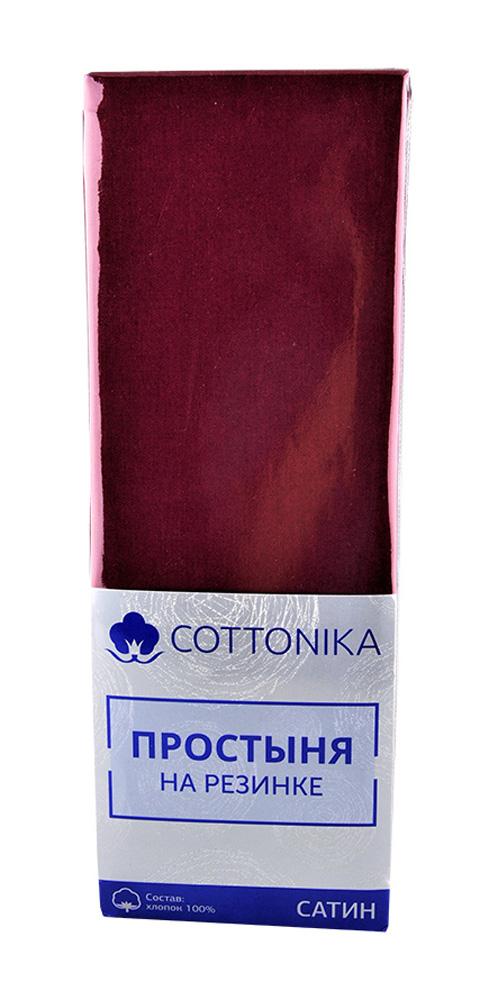 Простыня на резинке 200х220 Cottonika сатин гл.кр. - купить с доставкой в интернет-магазине О