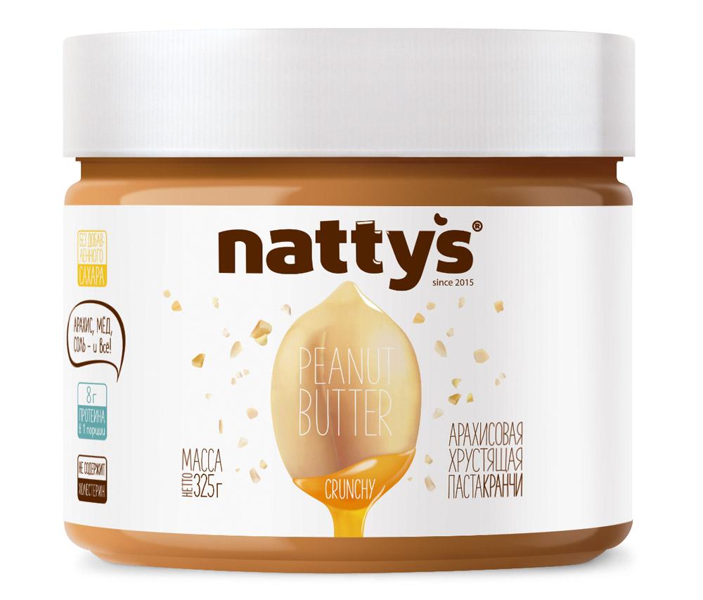 Паста арахисовая Nattys Crunchy с кусочками арахиса и мёдом 325г