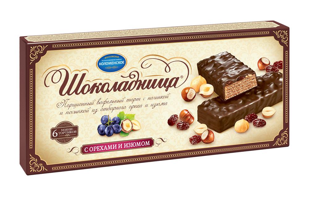 Торты и пирожные Торт вафельный Шоколадница с орехами и изюмом 180г