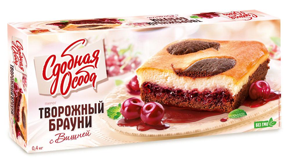 Торты и пирожные  Окей Доставка Пирог Сдобная особа Брауни творожный с вишней 400г КБК Черёмушки