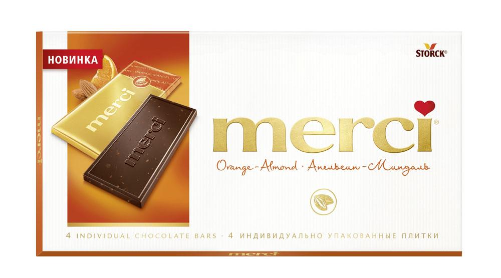 Шоколад горький Мерси апельсин/миндаль 100г